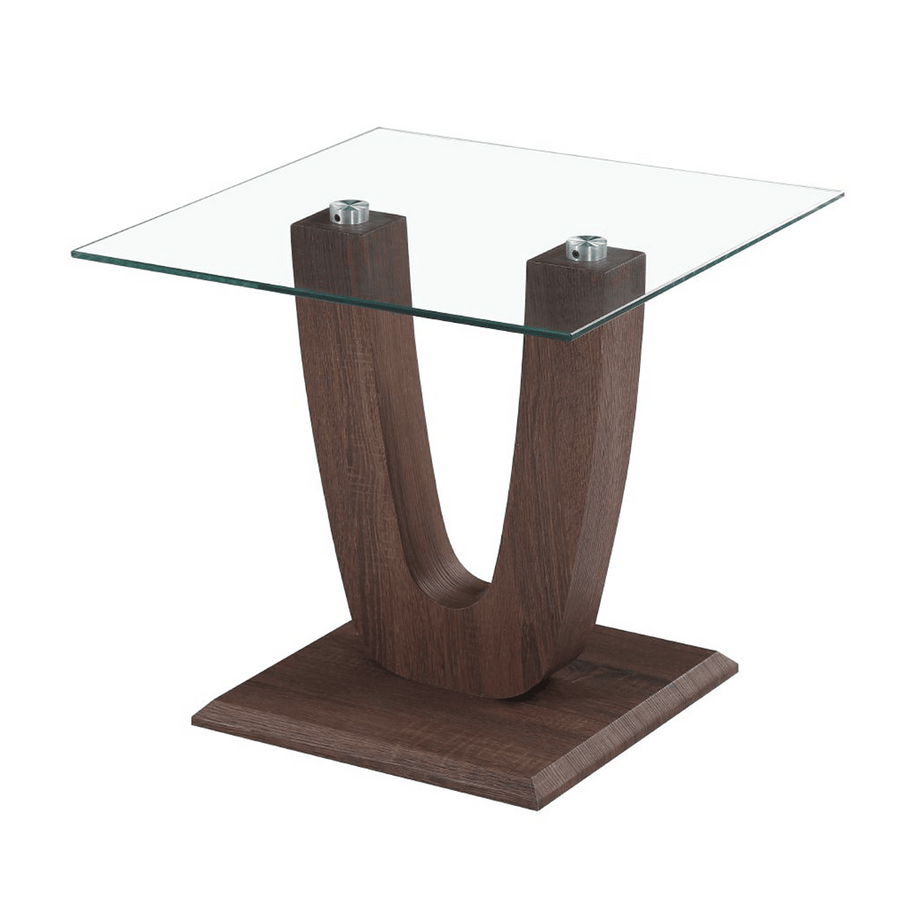 Capri Lamp Table Clear Glass Walnut