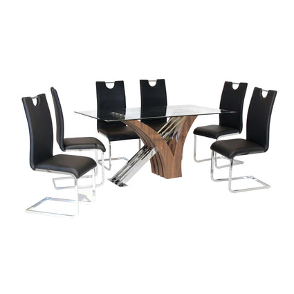 Caspian Glass Dining Table Walnut Colour with 6 Chairs