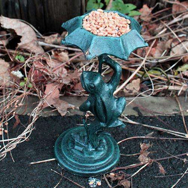 Cast Iron Bird Feeder - Frog - Verdigris