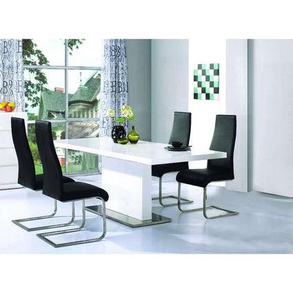 Chaffee Dining Set White High Gloss with 4 Chairs