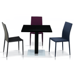 Chatham High Gloss Table Black with Stainless Steel Base and 4 Chairs
