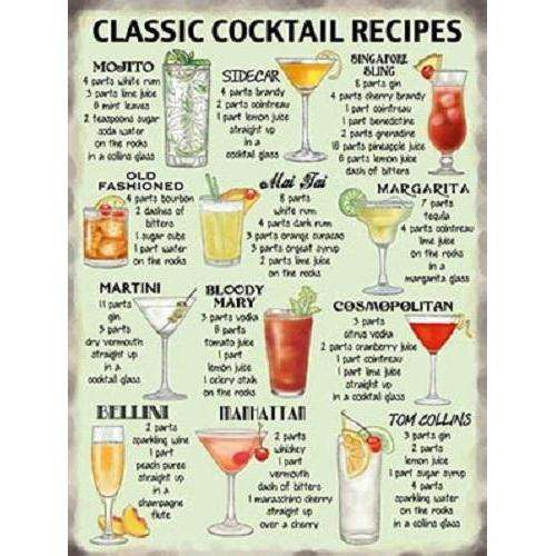 Classic Cocktails Recipe Sign
