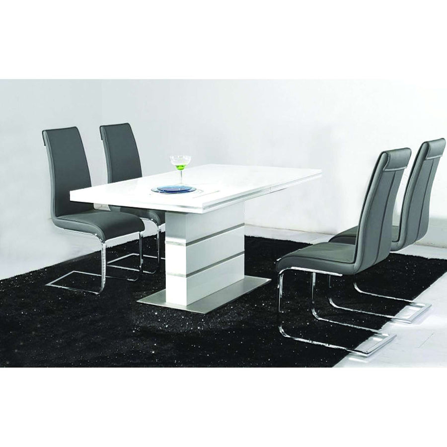 Dolores Dining Set White with Stainless Steel Base and 4 Chairs
