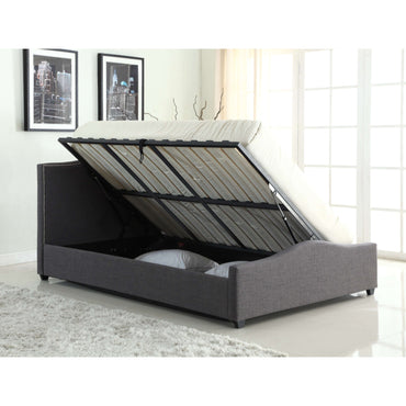 Elle Storage Grey Linen Double Bed