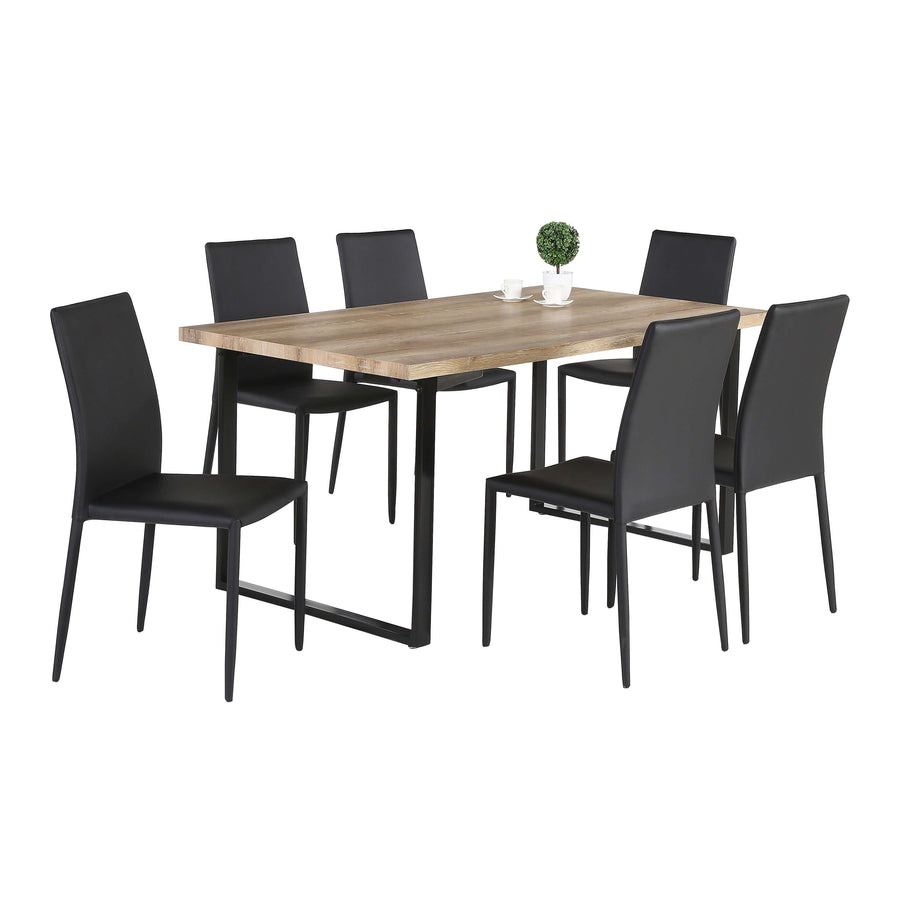 Felix Dining Table Natural & Black with 6 Chairs