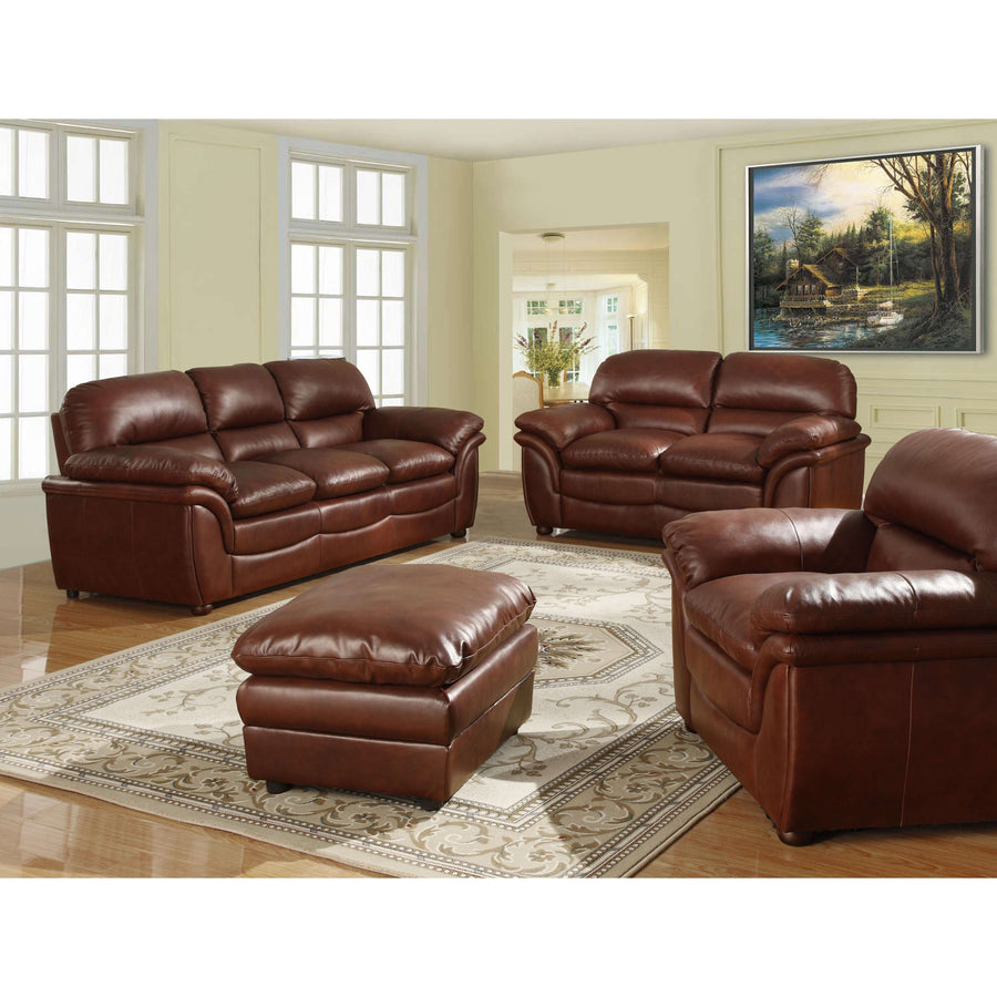 Fernando Sofa Full Bonded Leather Stool Brown