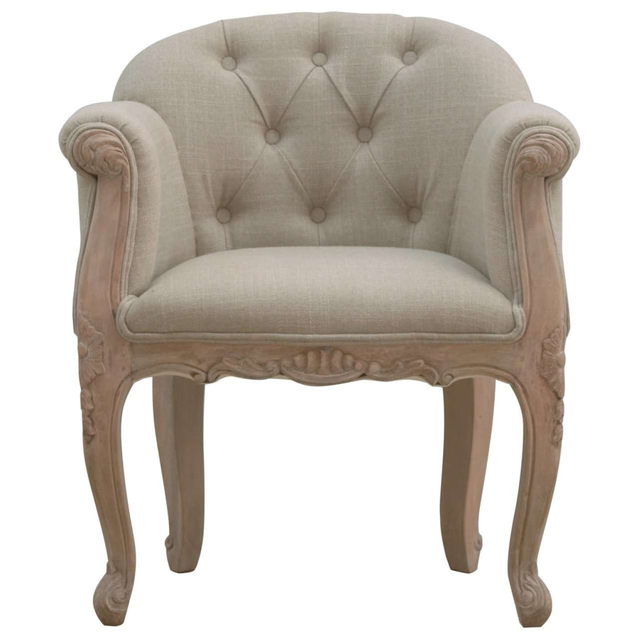 French Carved Mud Linen Accent Chair