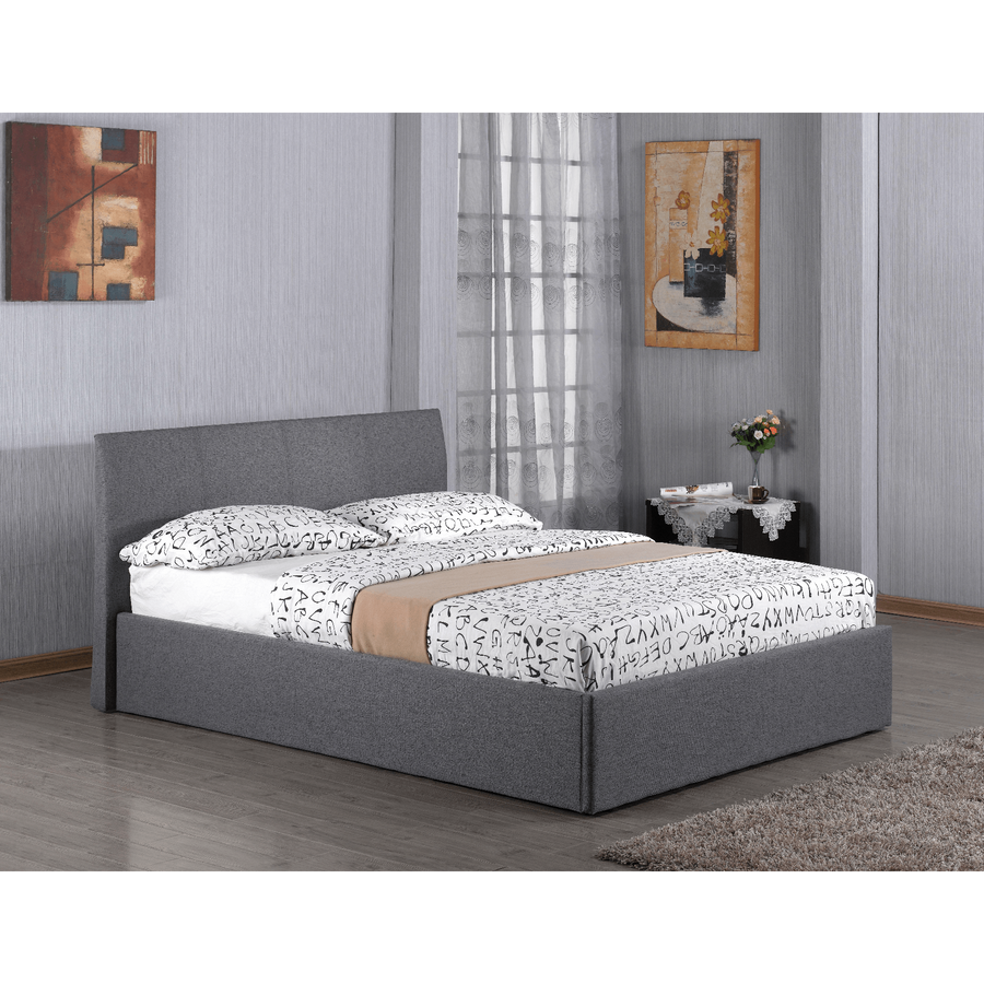 Fusion Fabric Double Storage Bed Grey