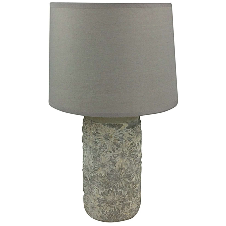 Grey & White Floral Pattern Lamp And Shade 38cm