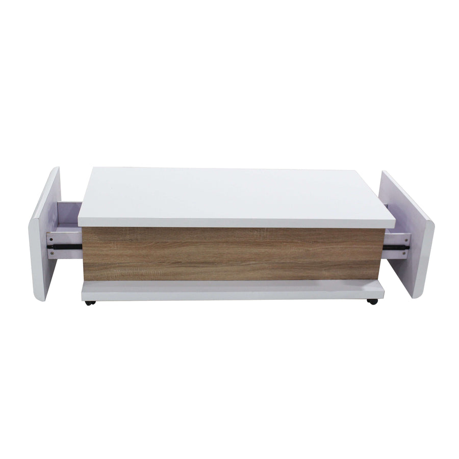 Howard High Gloss Coffee Table White & Natural
