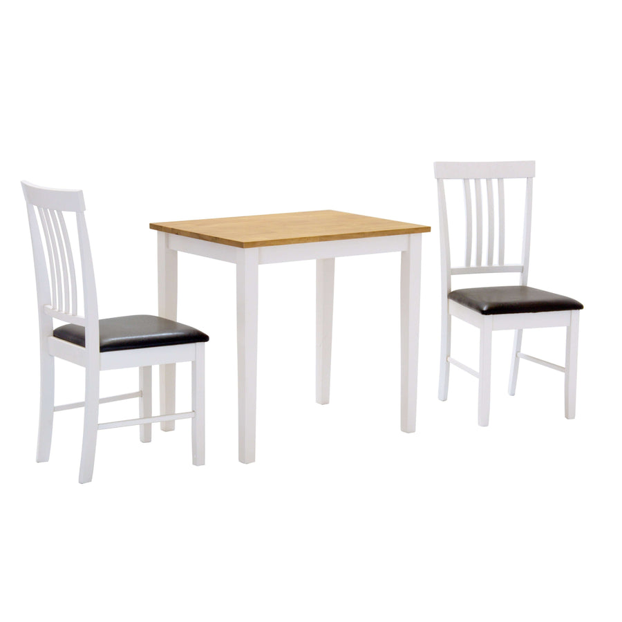 Massa White Small Dining Set with 2 Chairs Oak & White
