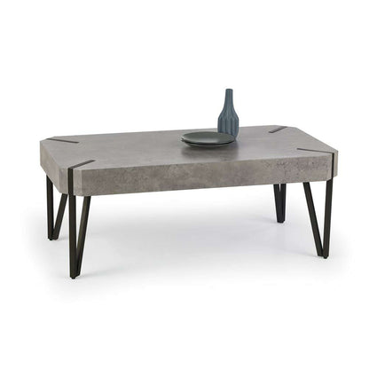Matador Coffee Table Stone with Black Metal Legs