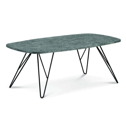 Mercia Coffee Table Stone with Black Metal Legs