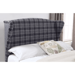 Nepal Fabric King Size Bed Grey Chequer