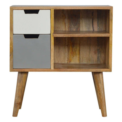 Nordic Style Grey Hand Painted Open Cabinet with 2 Drawers