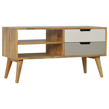 Nordic Style Media Unit with 2 Shelves & 2 Drawers