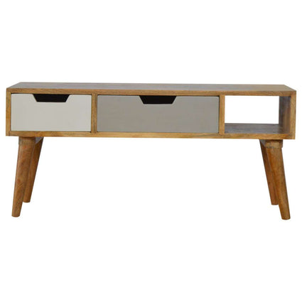 Nordic Style Media Unit with Painted Drawer Fronts