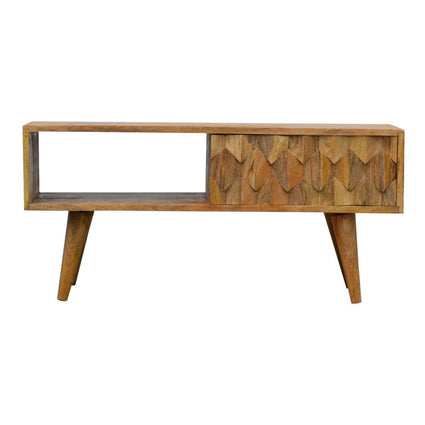 Nordic Style TV Stand with Pineapple Carved Sliding Door