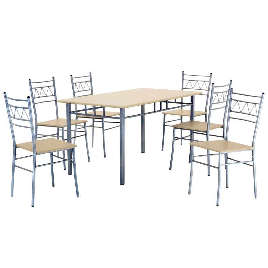Oslo Large Dining Set with 6 Chairs Silver & Beech
