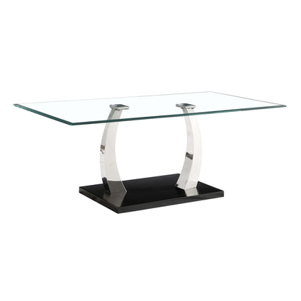 Phoenix Glass Coffee Table with Stainless Steel Base
