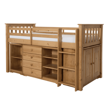 Porto Midi Sleeper with Desk Chest & Bookcase Pine