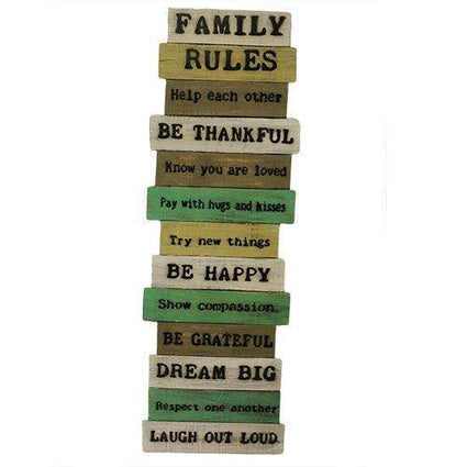 Rough Wooden Signs - Big Family Rules