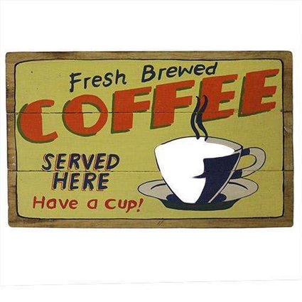 Rough Wooden Signs - Fresh Coffee