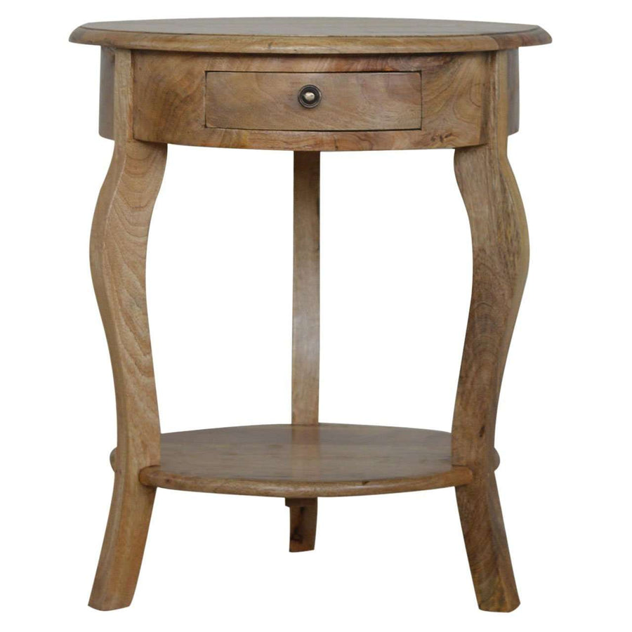 Round Side Table With Drawer and Shelf