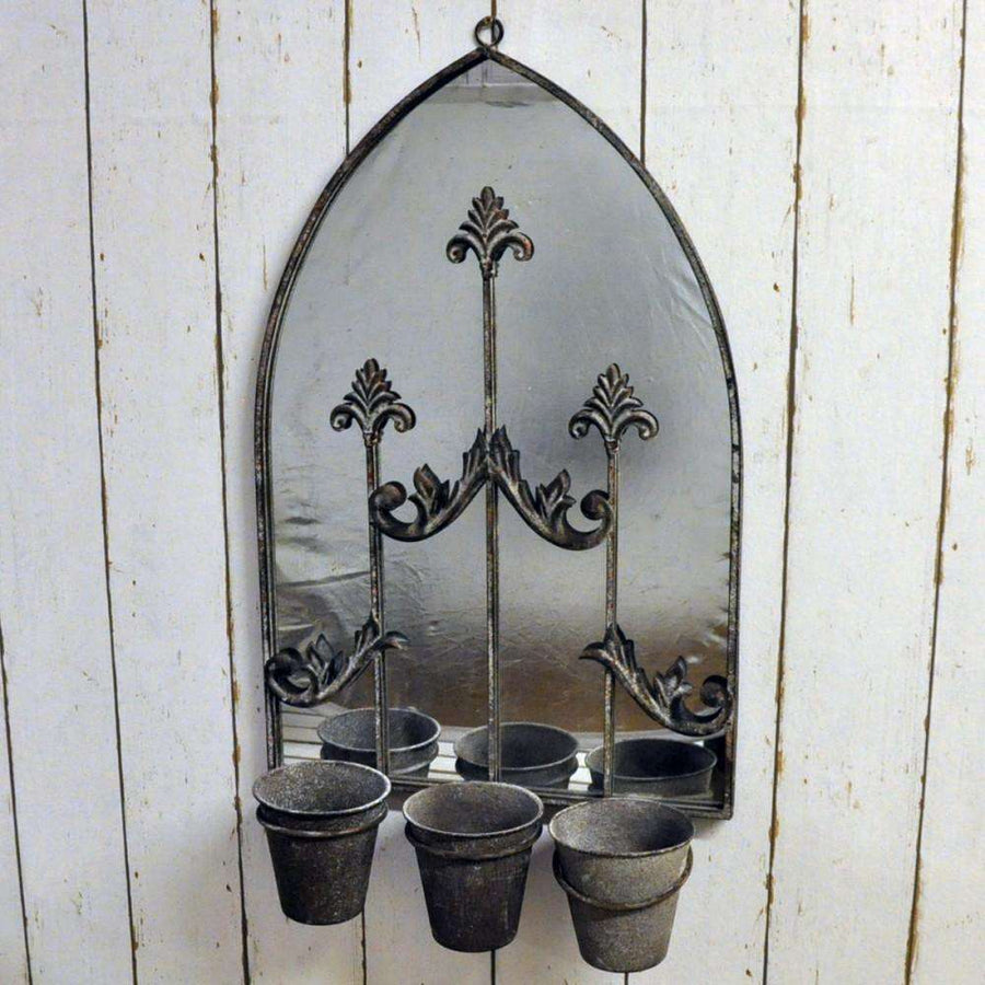 Rusty Wall Mirror With Triple Planter
