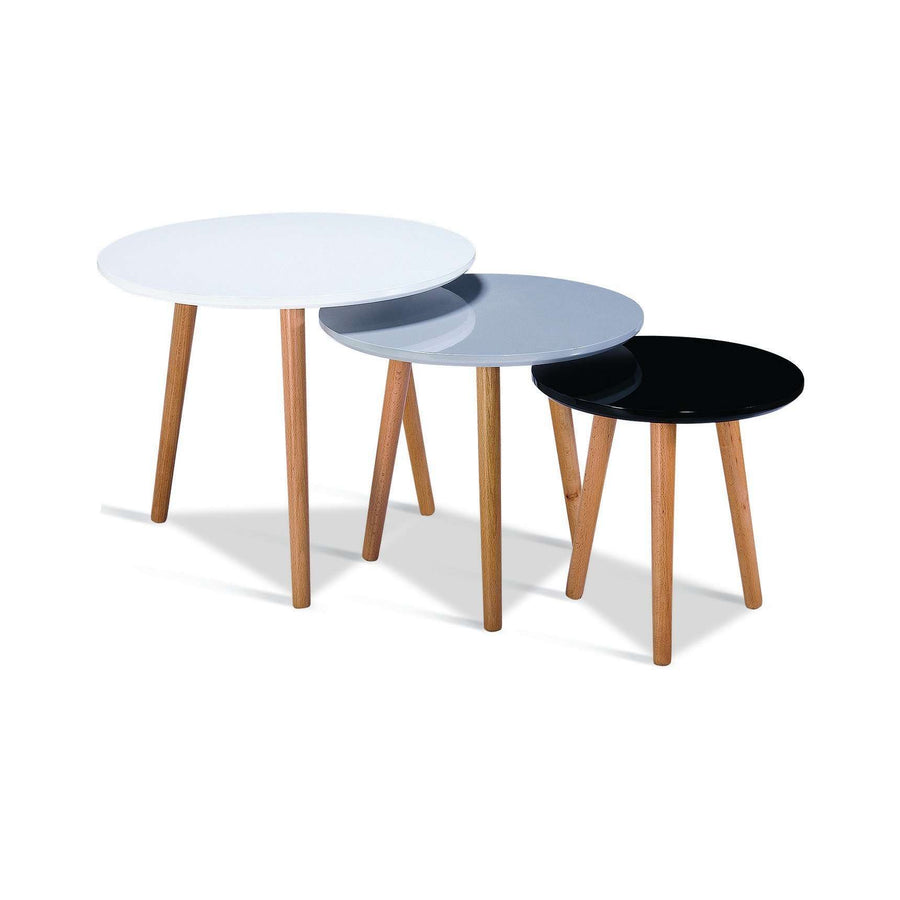 Sandon High Gloss Nest of Tables with Solid Beech Legs