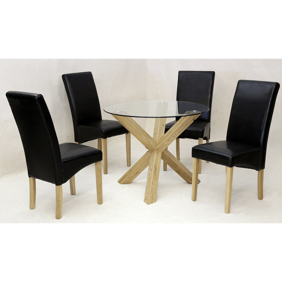 Saturn Medium Solid Oak Dining Set with 4 Chairs