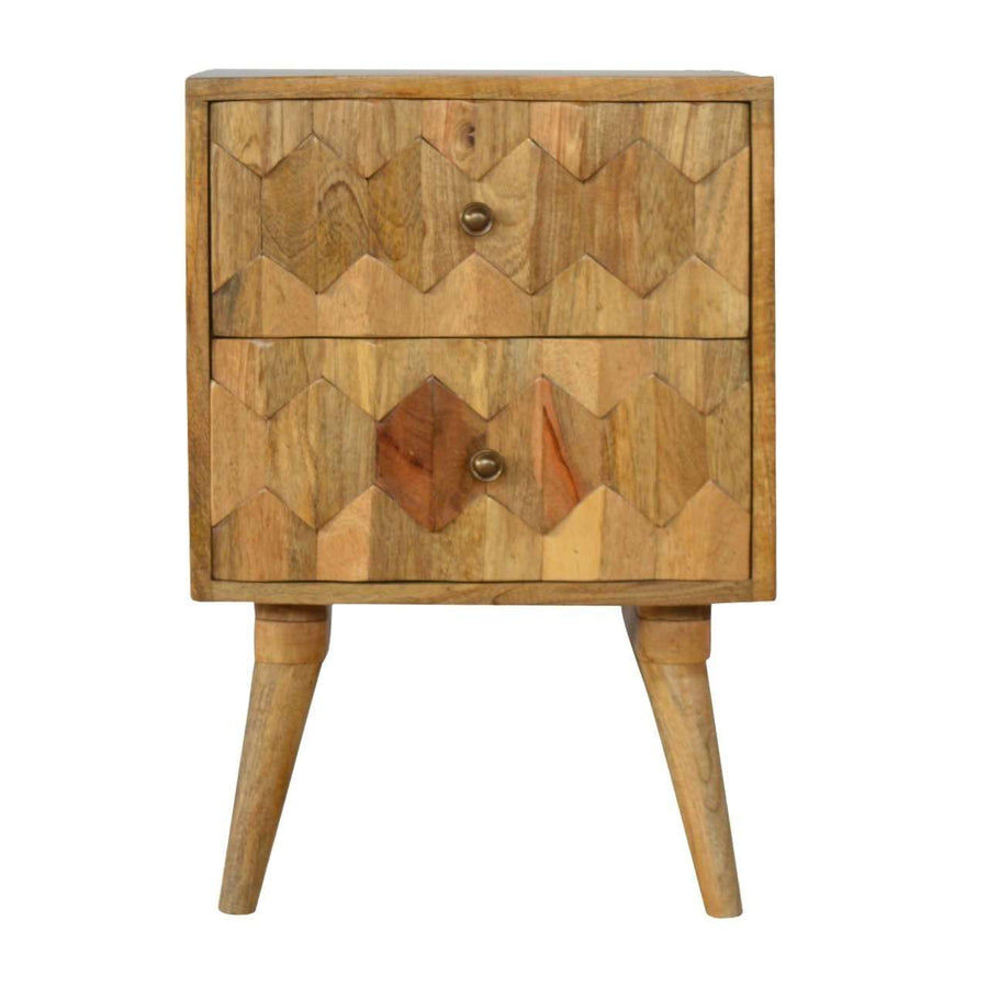 Scandinavian Style 2 Drawer Bedside with Geometric Hand Carved Fronts