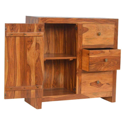 Sheesham Wood 3 Drawer 1 Door Cabinet