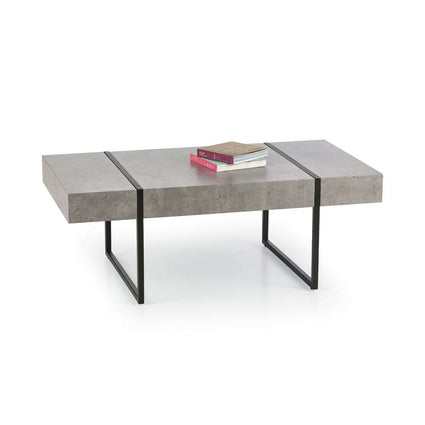 Sierra Coffee Table Stone with Black Metal Legs