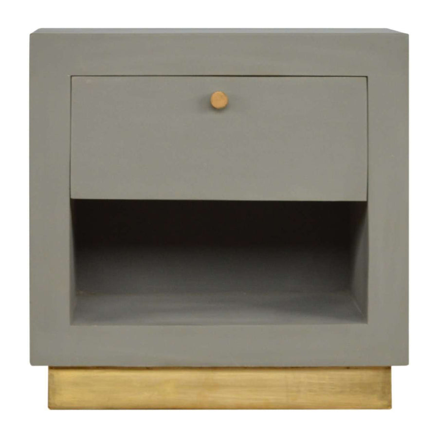 Sleek Cement Bedside with Gold Detailing