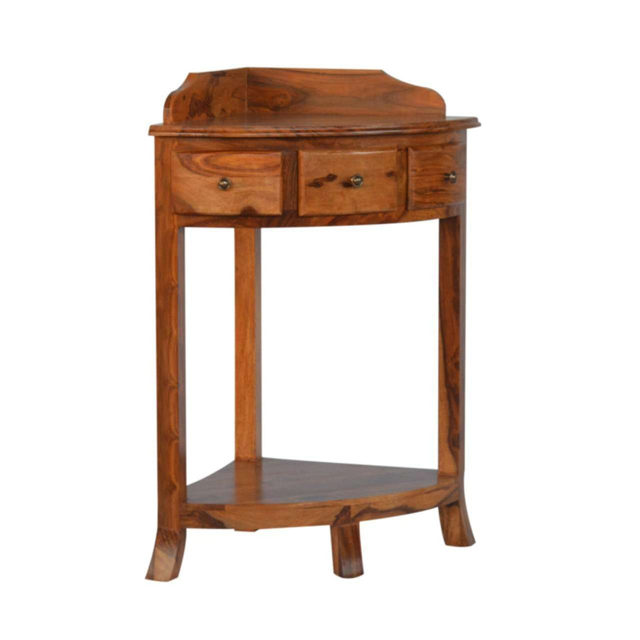 Solid Sheesham Wood Corner Wash Stand with a Gallery Back