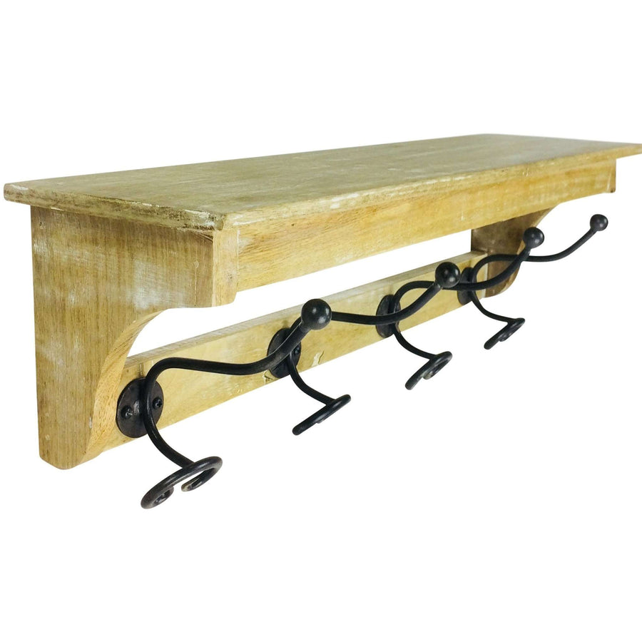 Solid Wood Bracket With 4 Hooks 57cm