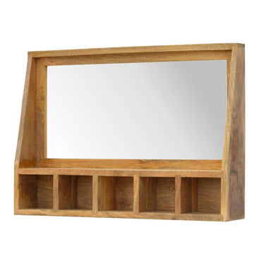 Solid Wood Mounted Mirror with 5 Slots