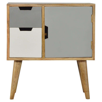 Solid Wood Nordic Style Grey Hand Painted Cabinet with 2 Drawers