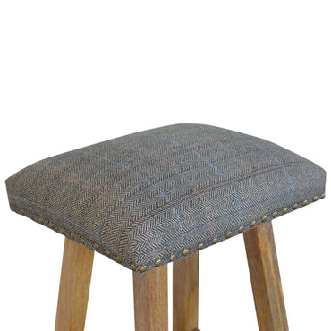 Stool With Upholstered Multi Tweed
