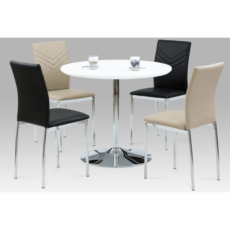 Sylvia White Dining Set with 4 Carina Chairs