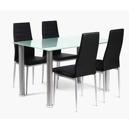 Tatum Frost Dining Set Silver with 4 Chairs