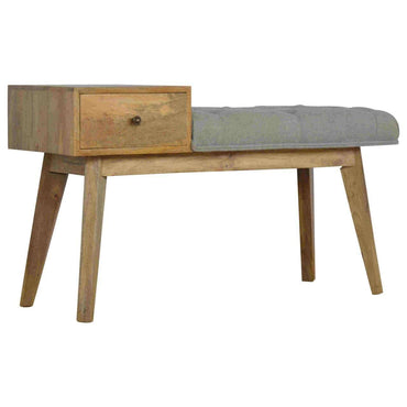 Telephone Bench With Drawer and Grey Tweed Seat