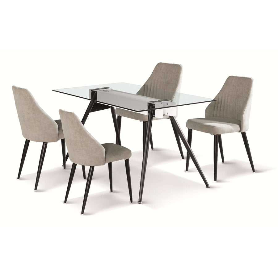 Tessa Dining Table with Black Metal Legs with 4 Chairs