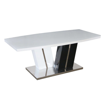 Titus Super White Glass Coffee Table White & Black