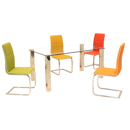 Valita Glass Dining Set with 4 Chairs