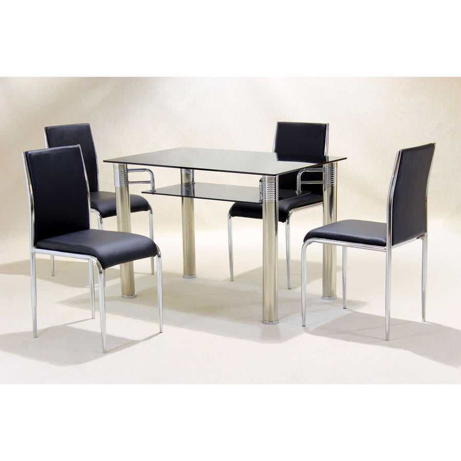 Vercelli Black Dining Set with 4 Chairs