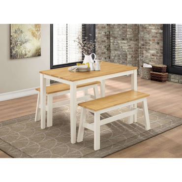Washington Dining Set with 2 Benches Nat Oak & White