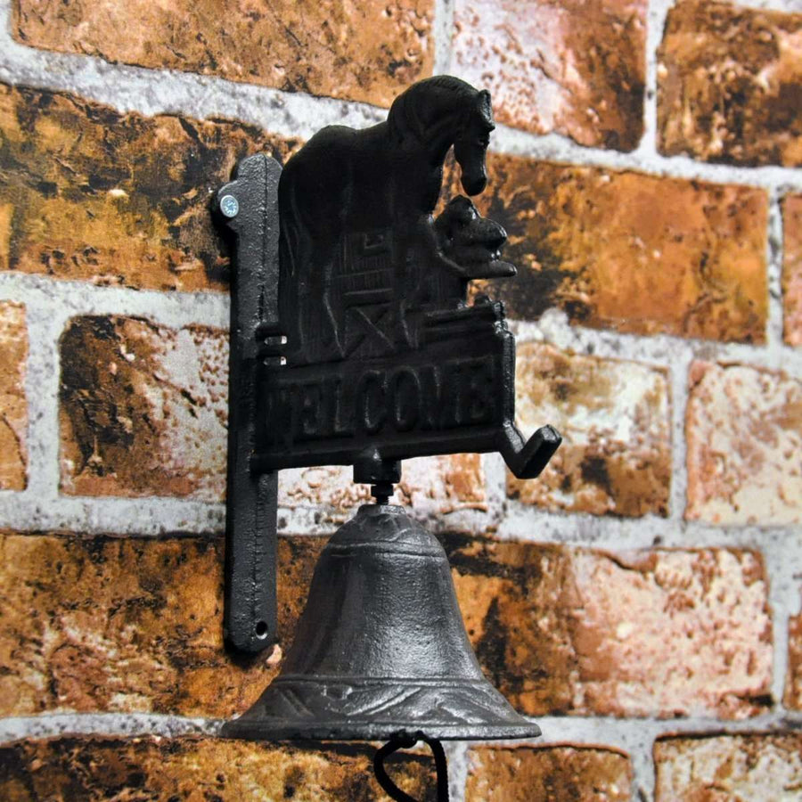 Welcome Horse Wall Bell 22cm