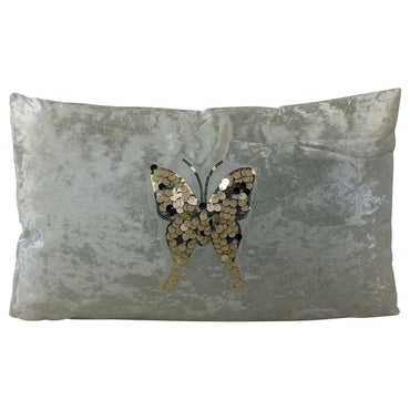White Cushion Butterfly design 50 x 30cm
